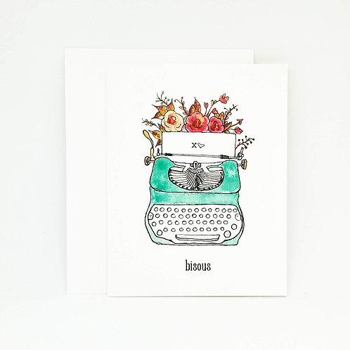 Whimsical Vintage Typewriter Card / French Greeting Card
