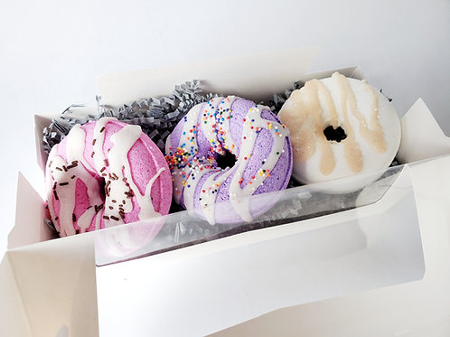 Donut Bath Bomb Gift Box | Maple Sugar, Vanilla Bean, Black Raspberry Bath Bombs