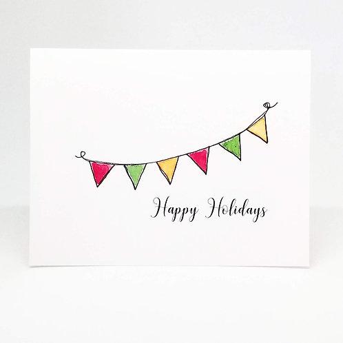 Festive Bunting Happy Holidays Greeting Card