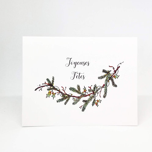 French Holiday Greeting Card Watercolour Card