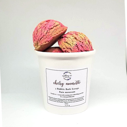 Solid Cherry Amaretto pink and cream bubble bars stacked in ice cream scoop form in a pint