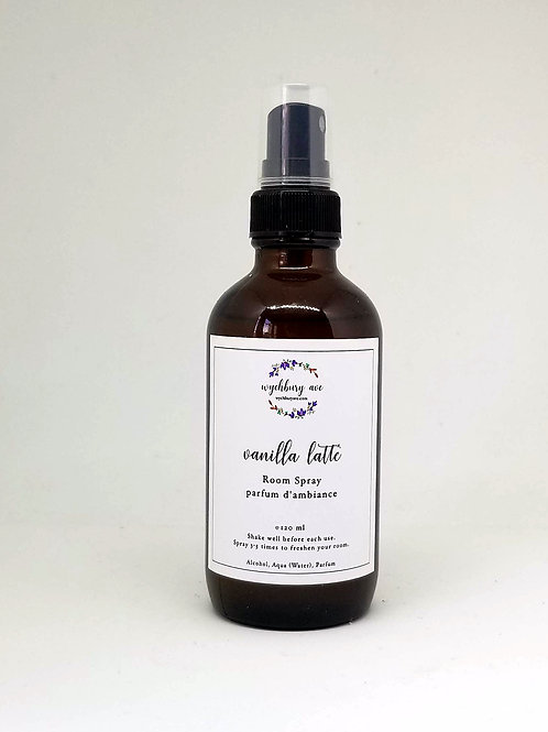 A glass bottle of vanilla latte room spray
