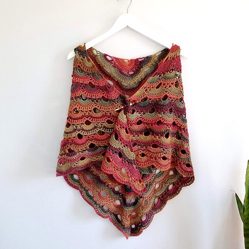 Sunrise Reversible Crocheted Shawl, Scarf & Wrap
