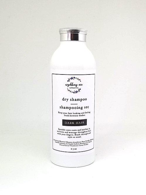 Natural dry shampoo for dark hair in a refillable shaker bottle