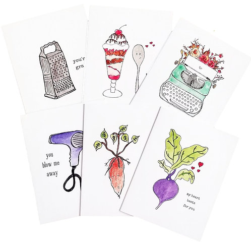 6 Pack of Watercolour Greeting Cards