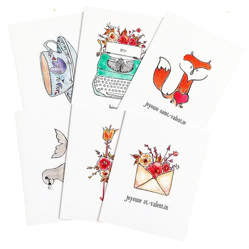 6 Pack of French Watercolour Greeting Cards