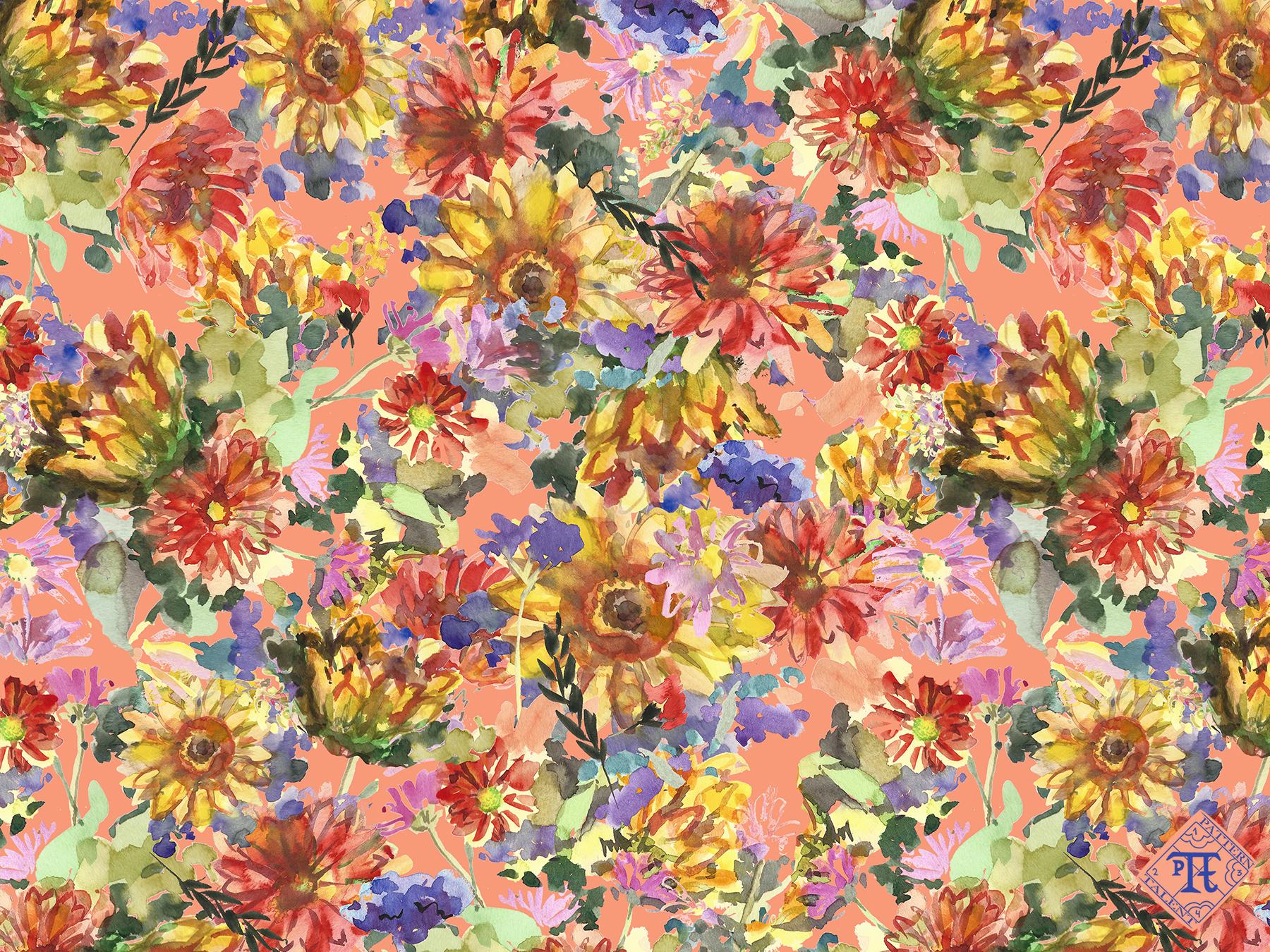 Floral pattern peach