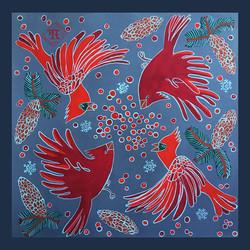Winter Birds Square Scarf Design