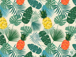 Tropical Leaves and Pineapple