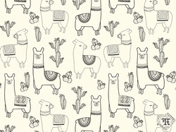 Happy Llamas Outlined