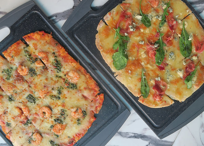 Shrimp Pesto Pizza and Blue Cheese Pizza