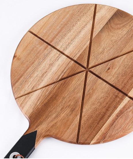 """13"""" Acacia Wood Pizza Board Set"""