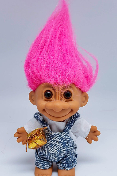 Vintage Russ Troll Doll - Golden Gift Box