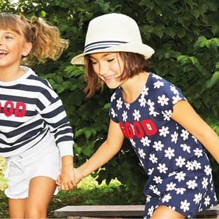 Yours by 02Tandem Abbigliamento - Bambine con abiti bianchi e blu - Coll. Estate 2021 - Baby 3 - 7 anni