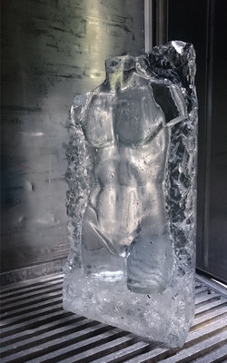 Ice Sculpture, male torso, learning to carve
