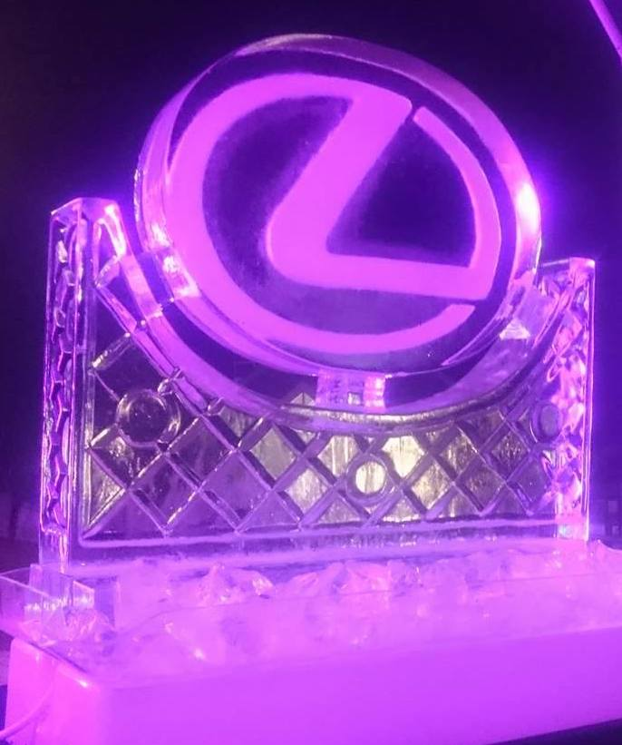 Ice Sculpture, Lexus, light tray display Millbrook, Queenstown