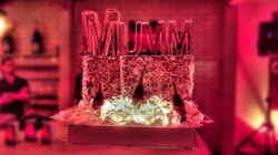 Mumm Champagne Ice Sculpture, champagne sponsor, snowboarding competition, afterparty, Toro Kitchen