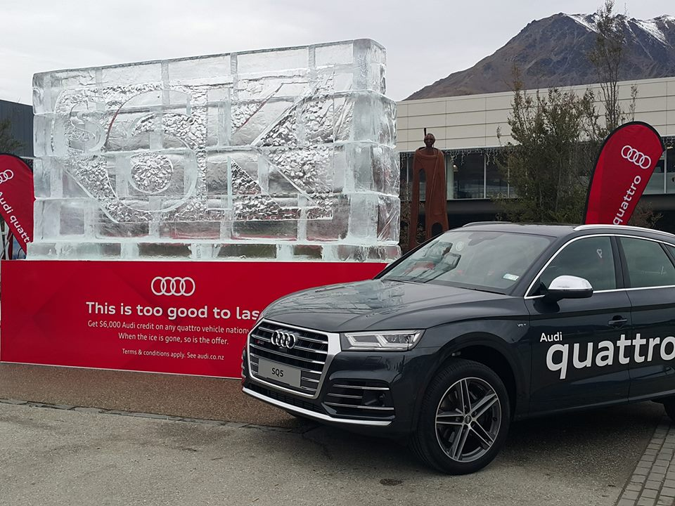 Ice Sculpture for Audi, The melting offer, Winter 2017, brand awareness, Queenstown airport