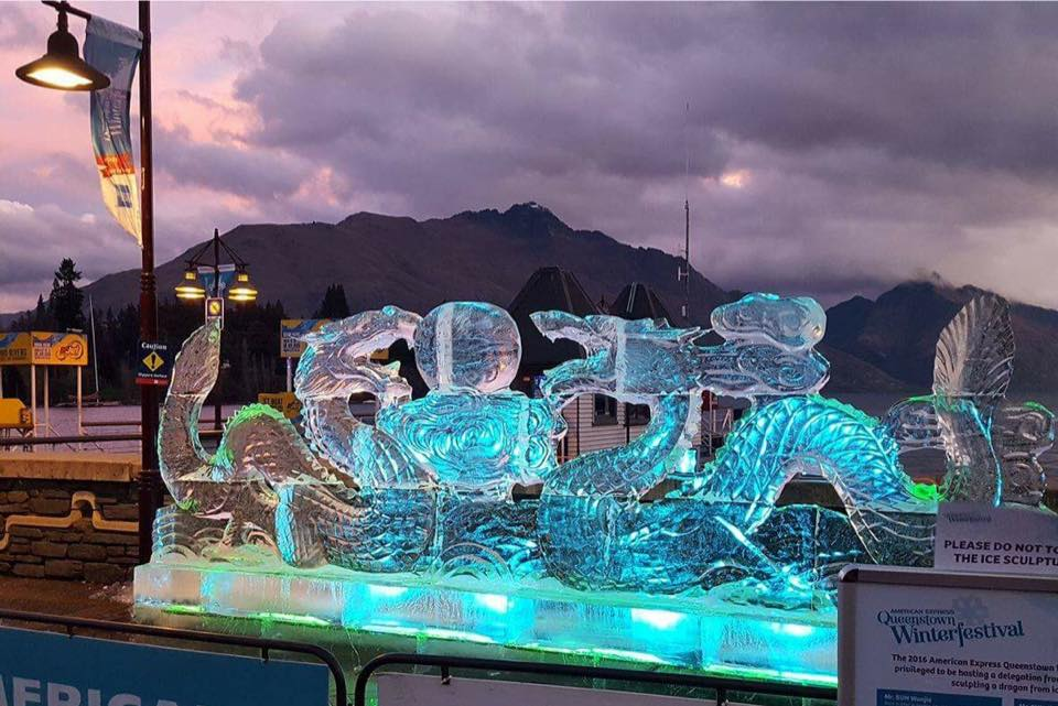 Ice Sculpture for Winterfest, Ice supplier for visiting sculptors, Queenstown Bay