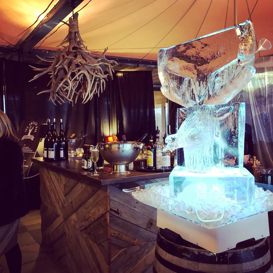 Ice Sculpture, ice luge, drink luge: stag head for a private birthday party for Raspberry Creek cate