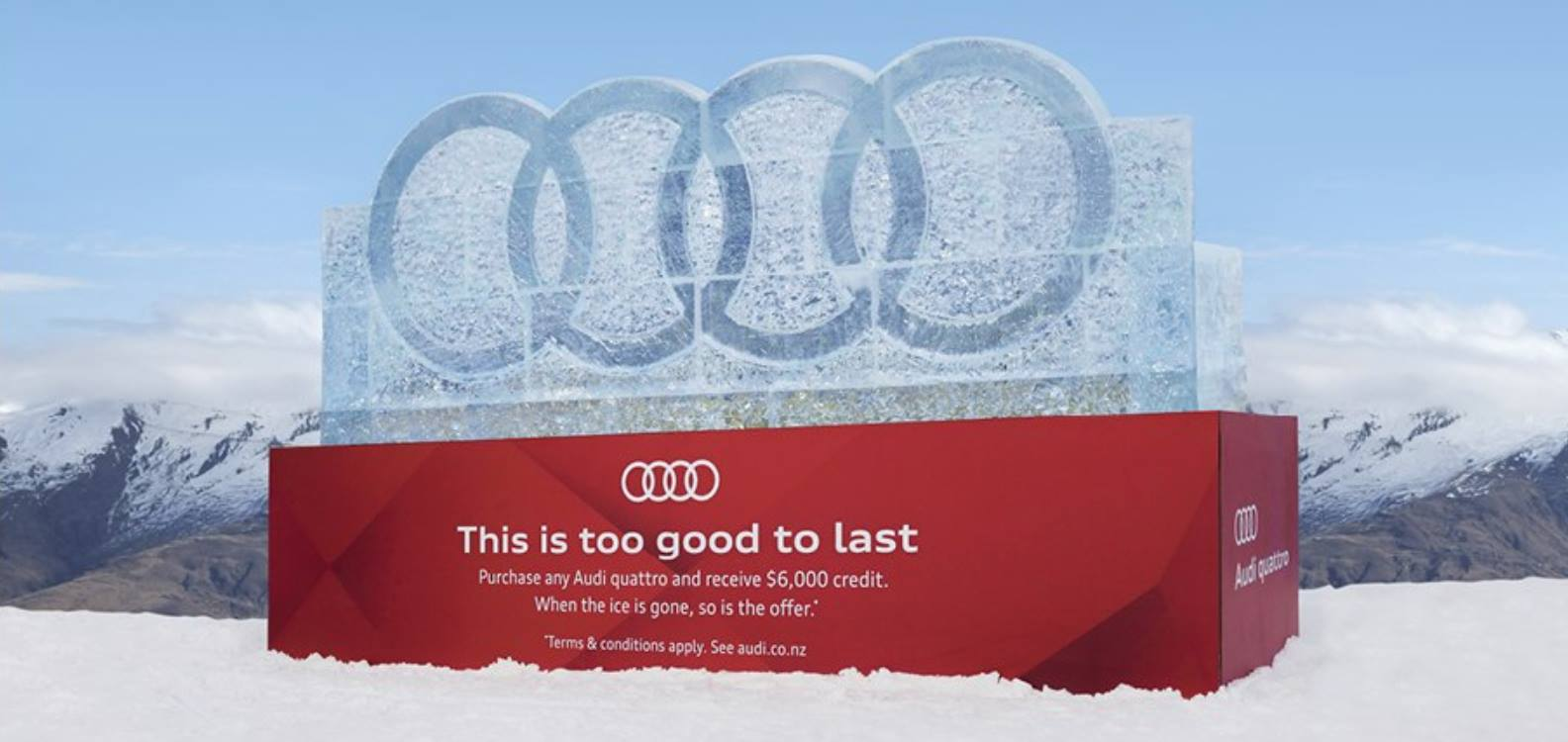 Ice Sculpture for Audi, The Melting Offer, Audi marketing campaign Winter 2018, multiple block sculp