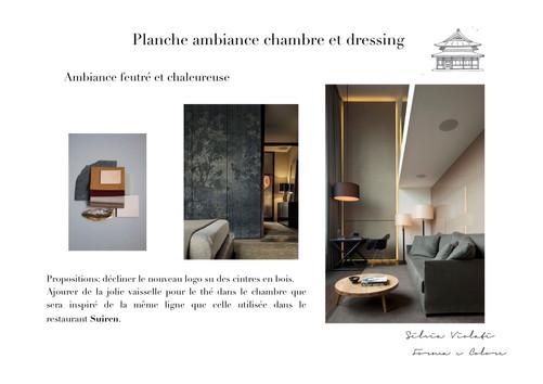 planche d'ambiance hotel feutré et chaleureuse Japon par Silvia Violati, Décoratrice UFDI sur Paris 9e (75) et Rome.
