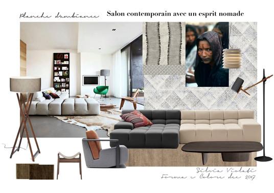 planche d'ambiance salon comtemporain nomade par Silvia Violati, Décoratrice UFDI sur Paris 9e (75) et Rome