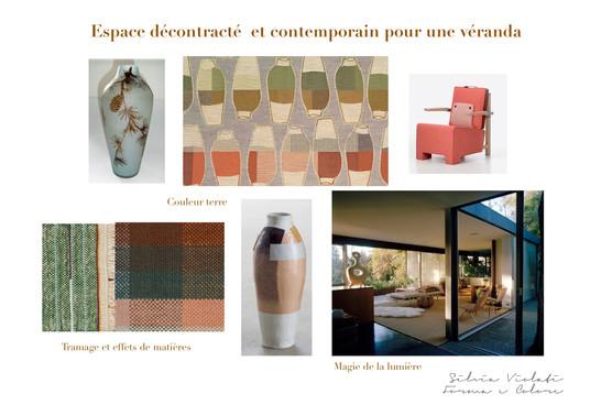 planche d'ambiance contemporain coloré pour véranda par Silvia Violati, Décoratrice UFDI sur Paris 9e (75) et Rome.