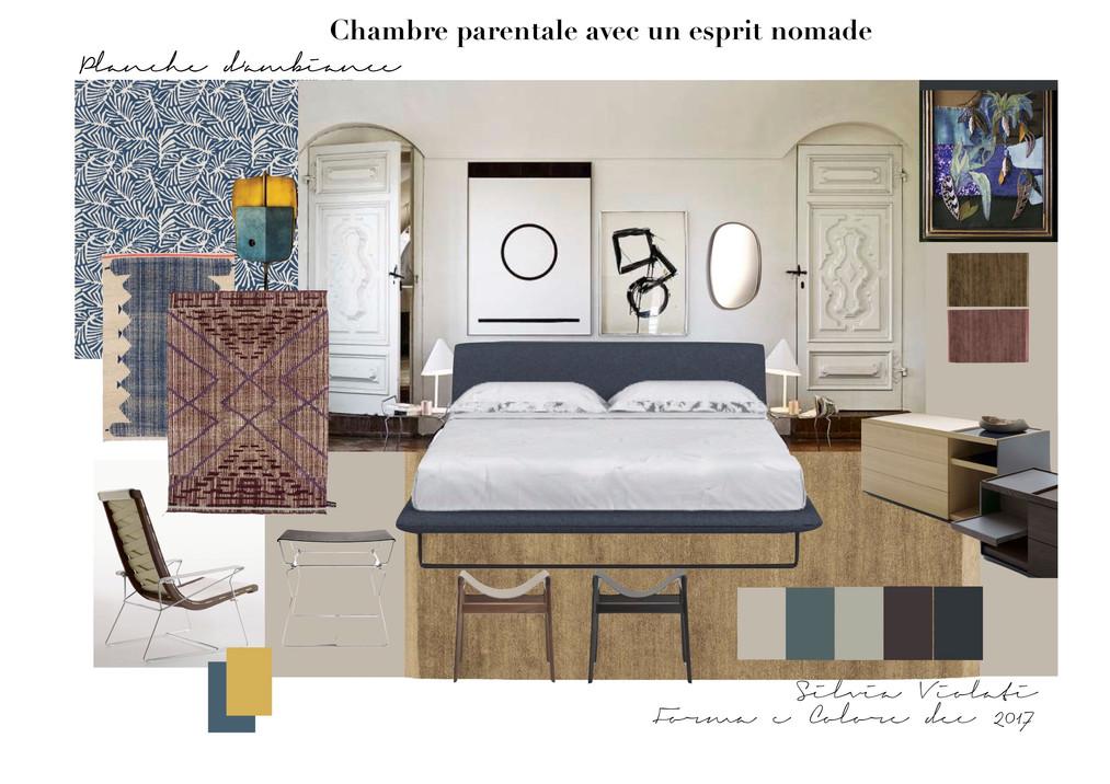 planche d'ambiance esprit nomade suite parentale par Silvia Violati, Décoratrice UFDI sur Paris 9e (75) et Rome.
