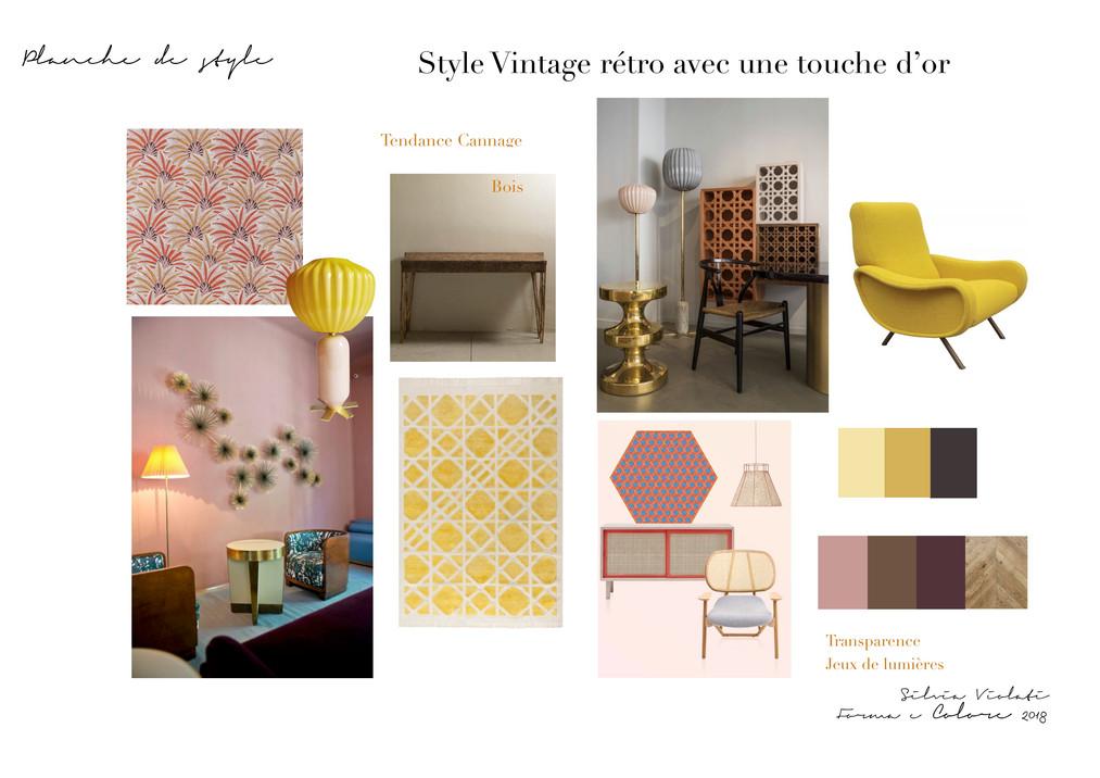 planche d'ambiance vintage rétro gold par Silvia Violati, Décoratrice UFDI sur Paris 9e (75) et Rome