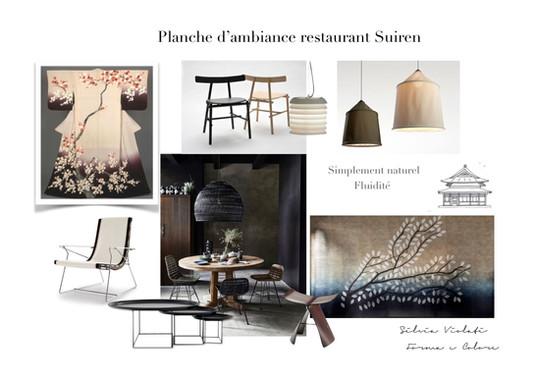 planche d'ambiance restaurant Japon printemps par Silvia Violati, Décoratrice UFDI sur Paris 9e (75) et Rome.