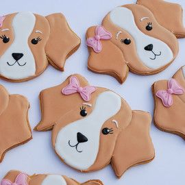 Iced puppy cookies