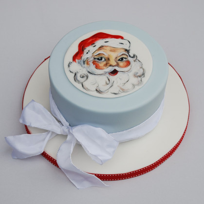 Father Christmas cakeHandpainted traditional fruit Christmas cake