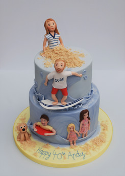 Beach and surfer cake