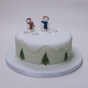 Happy Snowmen Christmas cake