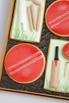 Cricket themed cookies