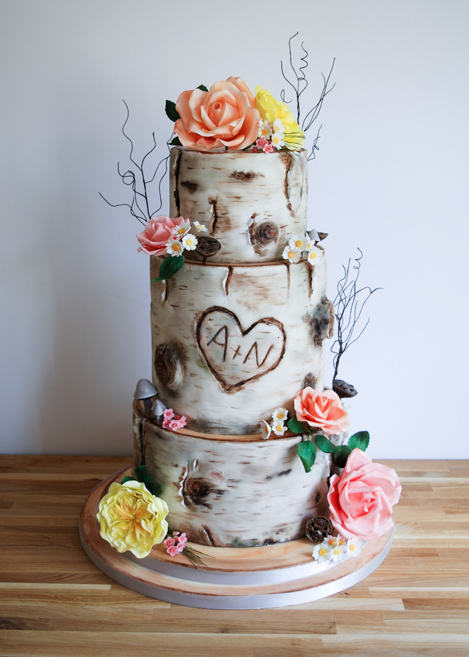 Whimsical Silver Birch Cake