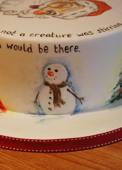 Hand Painted Christmas cake
