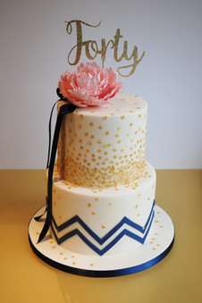 Pink Peony & Gold Sequin cake