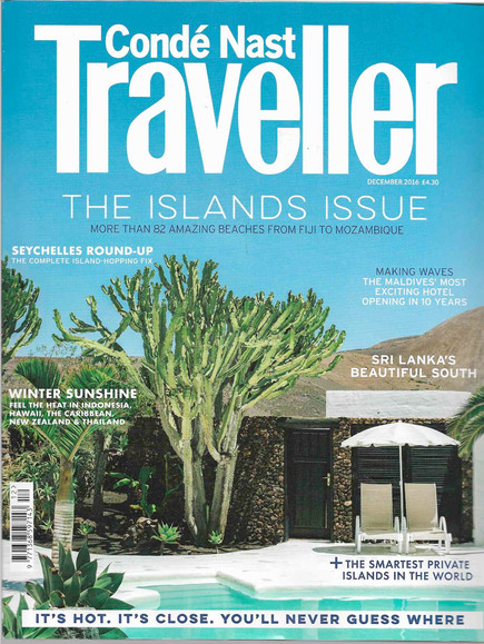 Latest work: Condé Nast Traveller Dec 2016