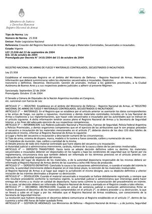 Creación del Registro Nacional de Armas de Fuego y Materiales Controlados, Secuestrados o incautados