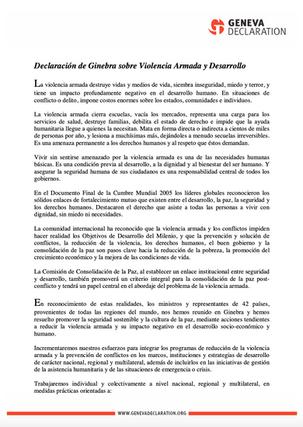 Declaración de Ginebra sobre Violencia Armada y Desarrollo