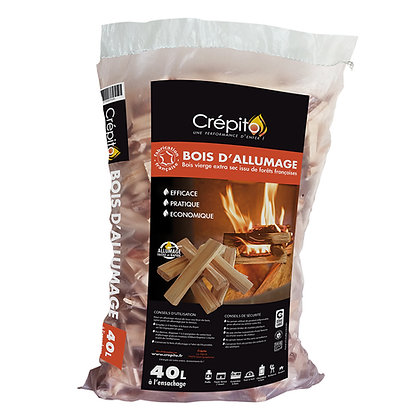 bois d'allumage crépito pour cheminée, poêle, insert, brasero, barbecue