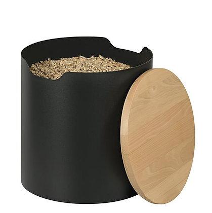 Stockeur à pellets, contenance 25 kg - noir et bois - DIXNEUF