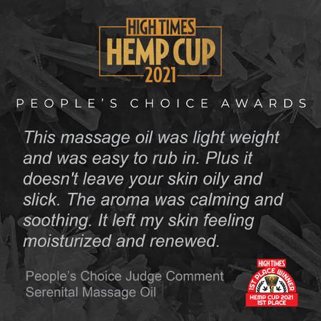 Hemp Cup Judge Comment - Serenital Massage Oil