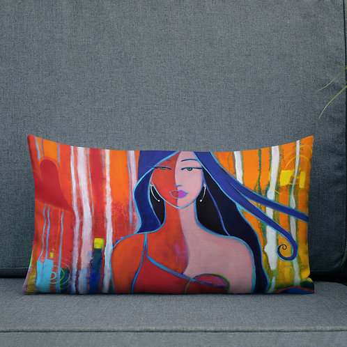 Premium Pillow LADY WITH BLUE POPPY