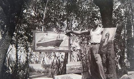 devant sa maison 1951