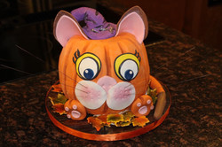 Whimsical Pumpkin Cat Cake