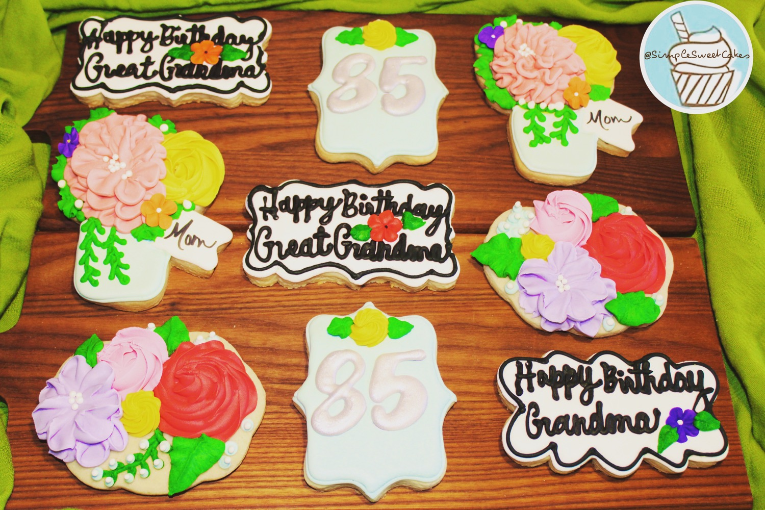 Decorated Floral Birthday Cookies