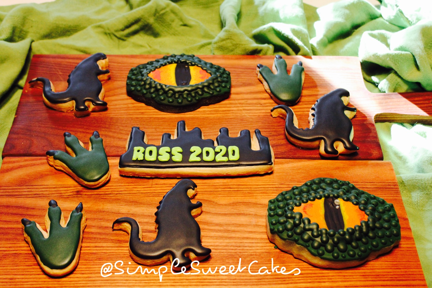 Godzilla Decorated Sugar Cookies